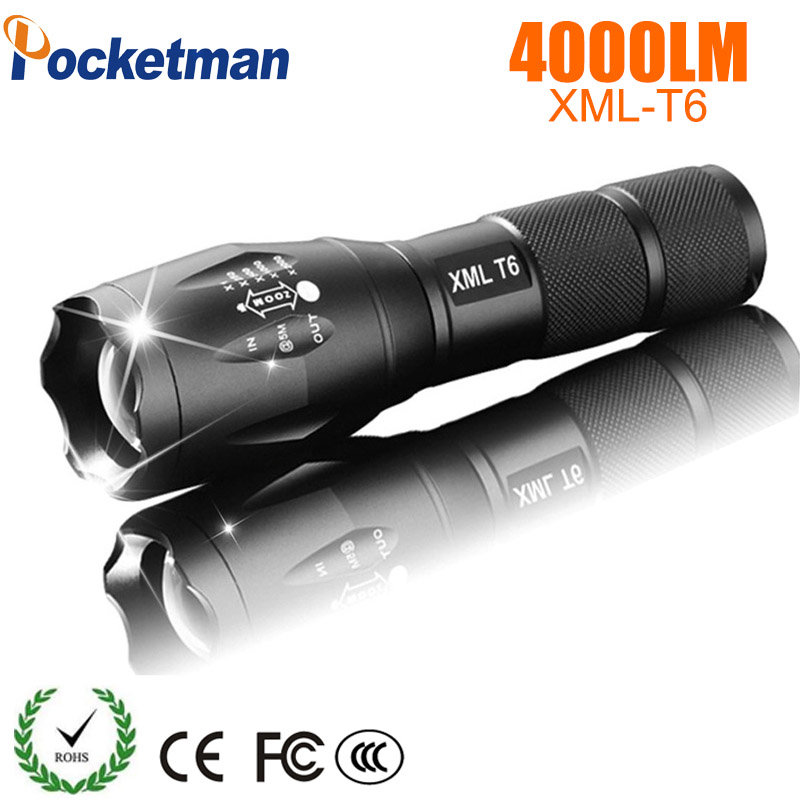 LED Flashlight 18650 Torch Waterproof CREE XM-L T6 4000LM 5modes LED Zoomable linterna led For 3x AAA or Battery