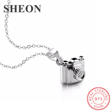 SHEON Authentic 925 Sterling Silver Creative Trendy Camera Pendant Necklaces With Cubic Zirconia Women Jewelry