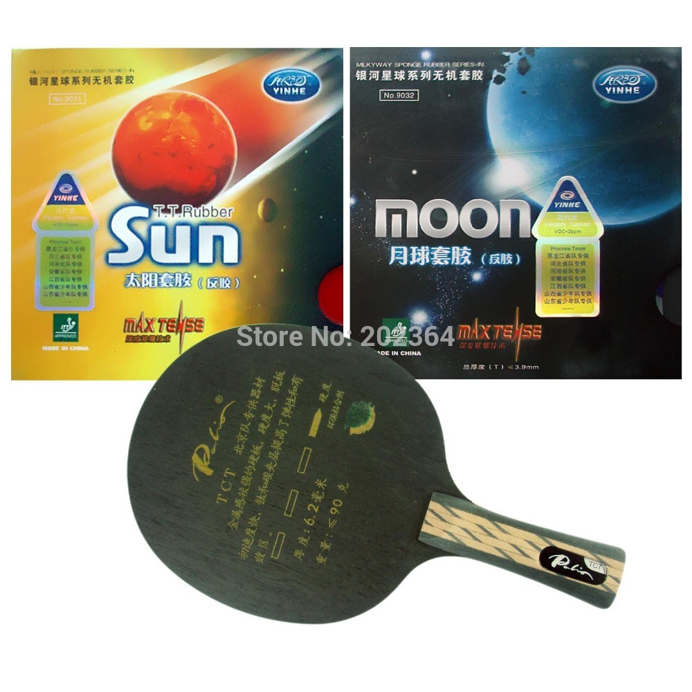 Palio TCT Table Tennis Blade with Galaxy YINHE Sun Moon Rubber with Sponge Long shakehand FL