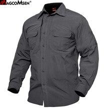 MAGCOMSEN рубашки мужские летние быстросохнущие военные тактические рубашки с длинным рукавом дышащие рубашки для работы в бою мужская одежда JNE-01