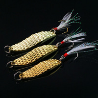 6pcs Mixed 3sizes Fishing Spoon Lure Bait metal hirudo sequins Paillette Hard Baits with Feather Treble Hook Pesca 7/10/15g