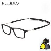 RUISIMO 2 lenes change arms Magnet Sunglasses Clip Polarized Clip on Sunglasses clip on glasses Men custom Prescription Myopia