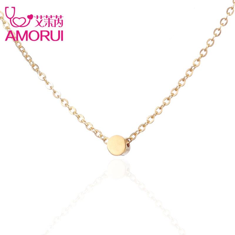 Rose Gold/Gold/Silver Circle Disc Collar Necklace Round Bean Point Collier Femme Necklaces for Women Bijoux Joyas