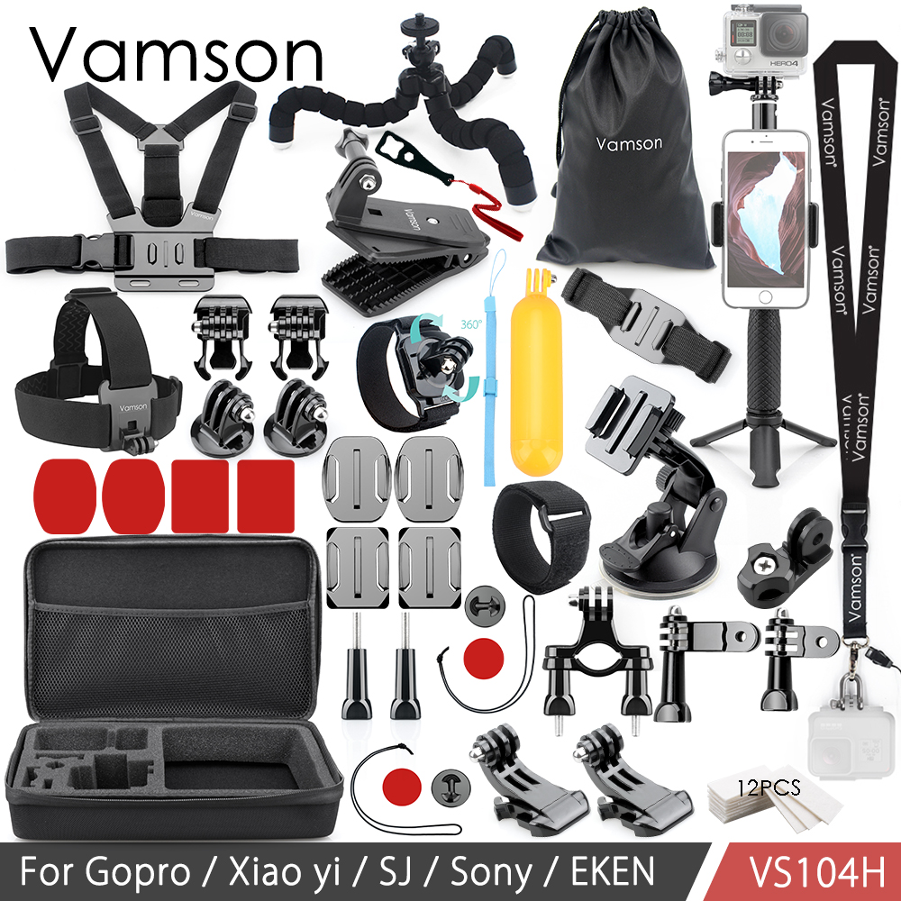 Vamson para Gopro accesorios para Eken H9R para Gopro héroe 7 6 5 4S montaje de palo de Selfie trípode para Yi 4 K para Mijia Kit de VP104F