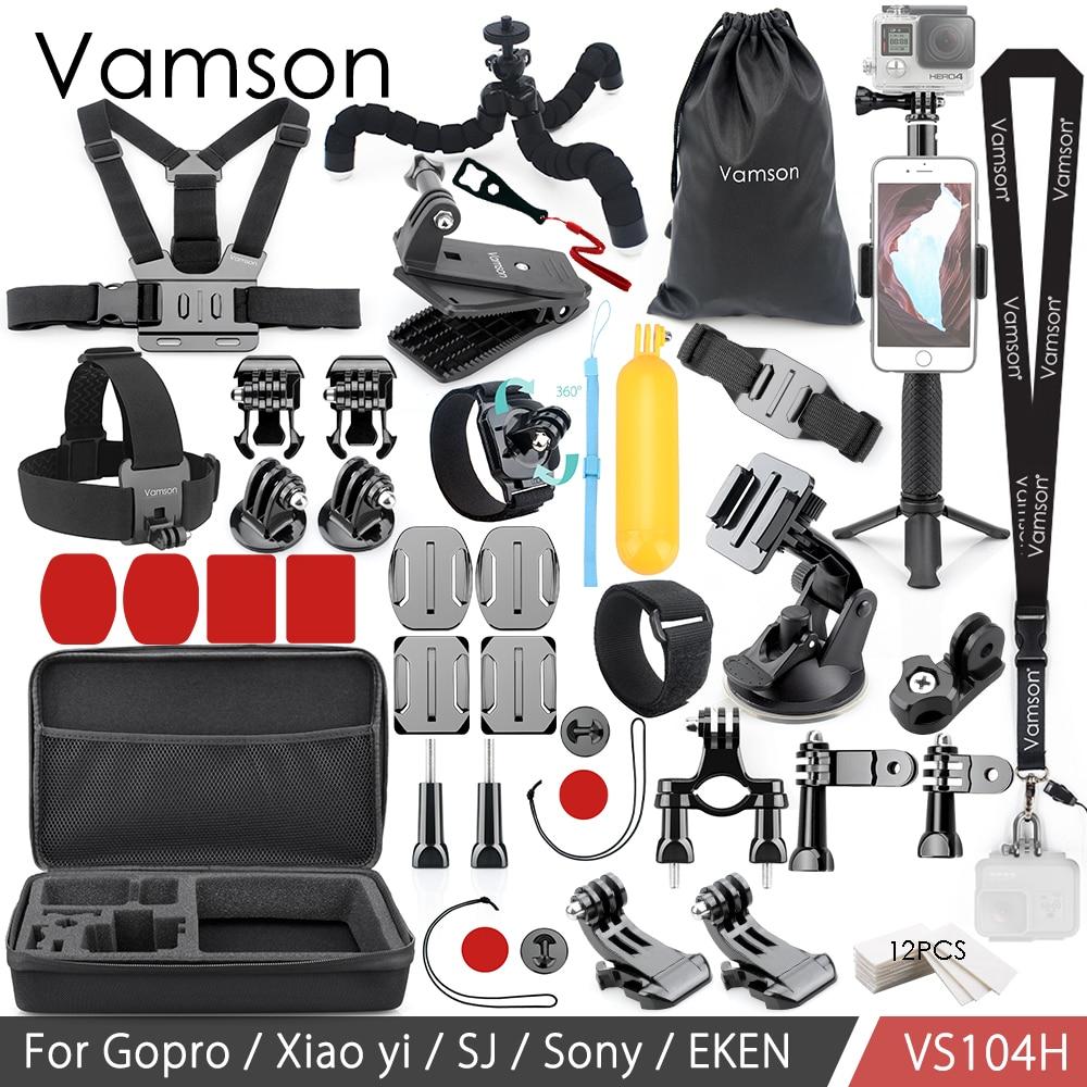 Vamson For Gopro Accessories Set for Eken H9R For Gopro Hero 7 6 5 4S Mount Selfie stick Tripod For Yi 4K for Mijia Kit VP104F цены онлайн