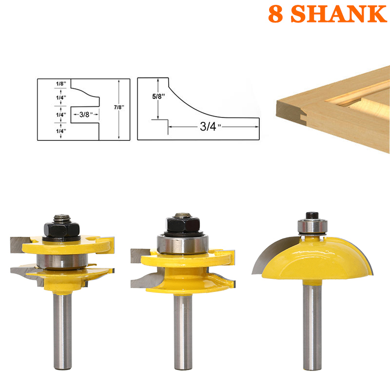 3pcs 8mm Shank Raised Panel Cabinet Door Router Bit Set Woodworking Cutter Woodworking Router Bits Carbide Bit Door Knife 16pcs 14 25mm carbide milling cutter router bit buddha ball woodworking tools wooden beads ball blade drills bit molding tool