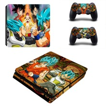 Dragon Ball Design Vinyl PS4 Slim Sticker for Sony Playstation 4 Slim Console+2pcs Skin Decal Controller Stickers