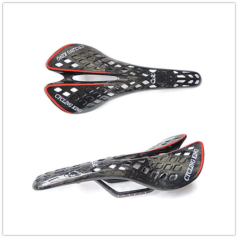 ФОТО quality product cyclingking full carbon fiber cushion saddle bicycle accessories road bike MTB Spider saddle 285*135mm 139g