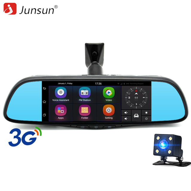 "Junsun 7"" Touch 3G Special Car DVR Camera Mirror GPS Bluetooth 16GB Android 5.0 Dual Lens Full HD 1080p Video Recorder Dash Cam"