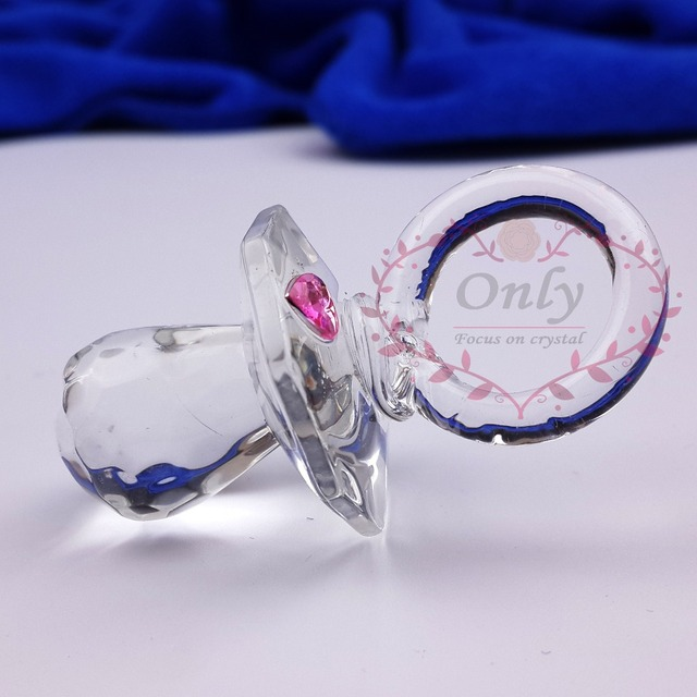 30PCS/LOT Lovely Clear glass Baby Pacifier  Christening Gifts New Born Baby Shower Favors  Gifts