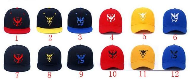 Gran Juego Pokemon Go sombrero plano amarillo rojo azul gorra de béisbol  sombrero equipo Valor equipo e10fc1f91bb