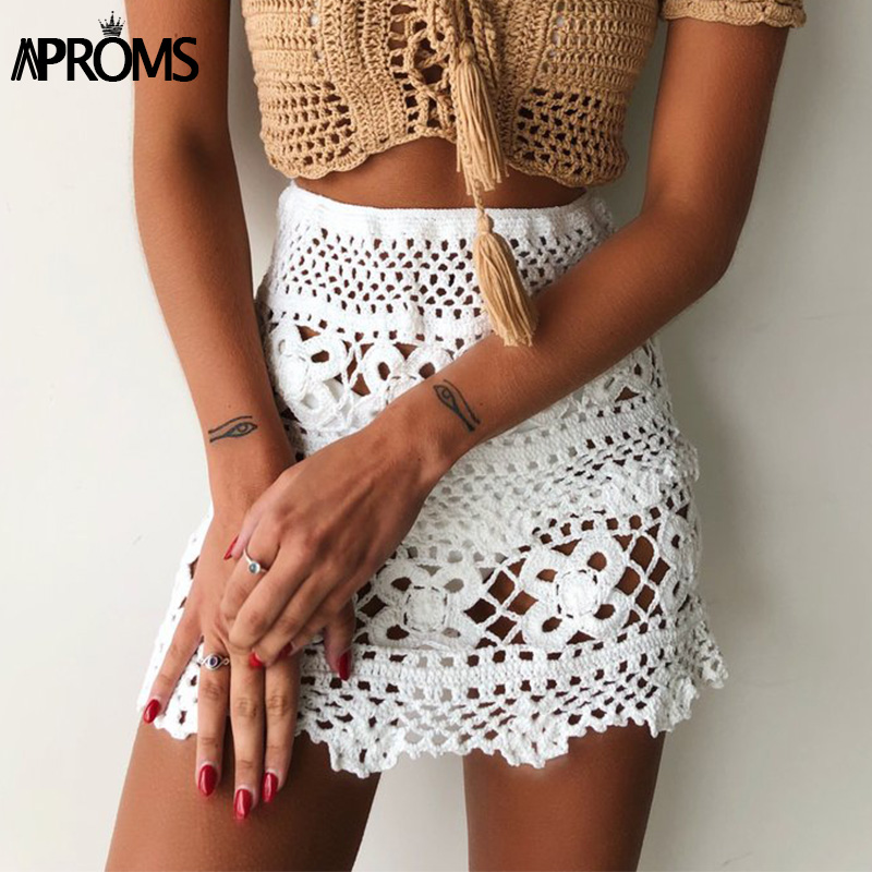 Khaki Solid Cotton Crochet Knitted Short Mini Skirts Women Summer Elastic High Waist Beach Skirt Ladies Bikini Bottoms 2019 New