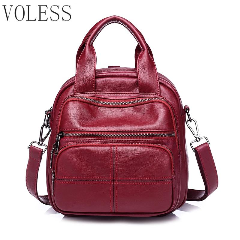 Women Multifunction Backpack Fashion PU Leather School Backpacks Large Capacity Backbag Brand School Bag Girl Travel Bag Mochila