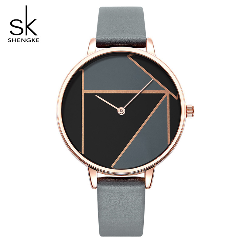 Shengke Women Leather Watches Top Brand Luxury Quartz Watch Female Clock Relogio Feminino 2018 New Fashion Ladies Watches #K0072 shengke luxury watches women rhinestone bracelet watches ladies quartz wristwatch relogio feminino 2018 female clock k0011
