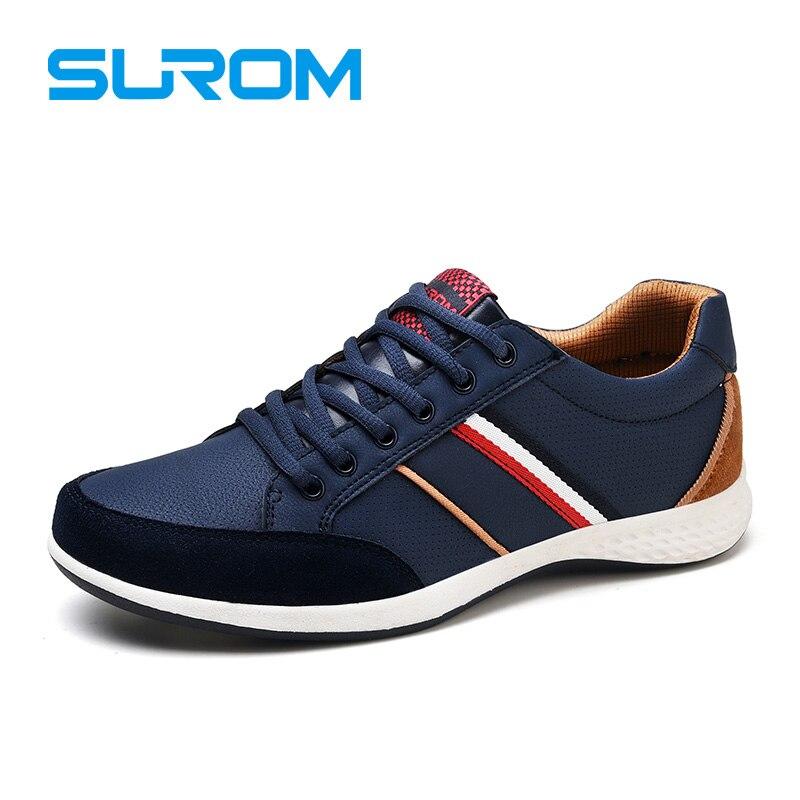 SUROM Hombres Casual Zapatos 2017 Cordón Del Resorte Del Otoño del Estilo Britán