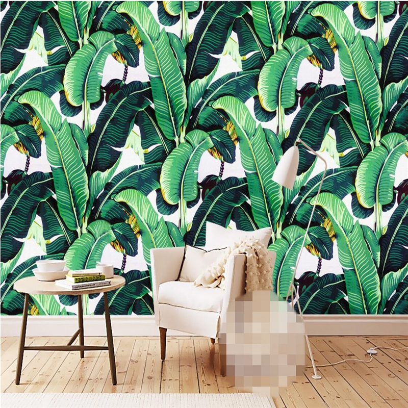 beibehang custom wallpaper European retro hand-painted tropical forest plant Banana leaves pastoral wall murals background
