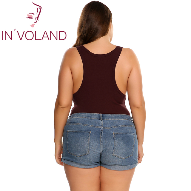 IN'VOLAND Women's Bodysuit Plus Size Overalls Large Scoop Neck Slim Fit Sexy One Piece Barboteuse Lady Jumpsuit Big Size 5XL 4