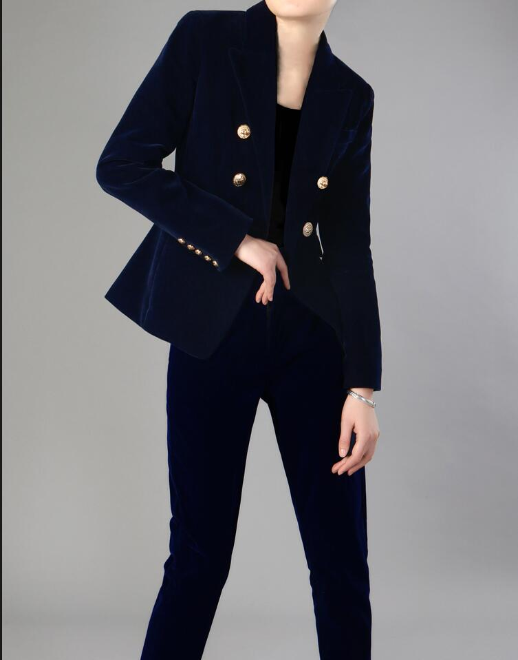 Navy Blue Velve Fashion Stylish Women's Formal Business Suits Women Custom Made Slim Fit 2 Pieces Office Lady Work Suits
