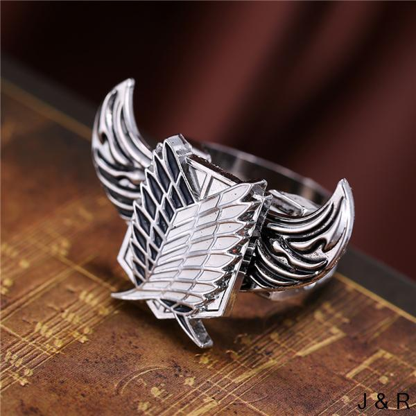 Attack on Titan Angel Wings Survey Corps Charm High Quality Jewelry Ring