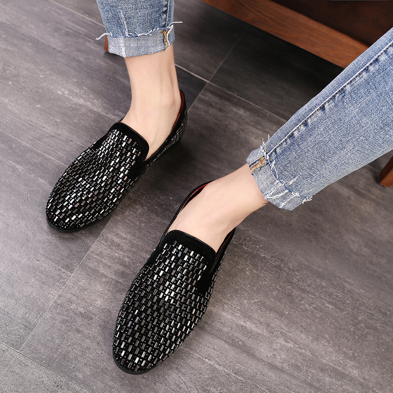 LAISUMK Full Shining PVC Bricks Decoration Mens Formal Dress Shoes Soft Sole Slip on Loafers Big Size Party Casual Shoes 2019 in Formal Shoes from Shoes