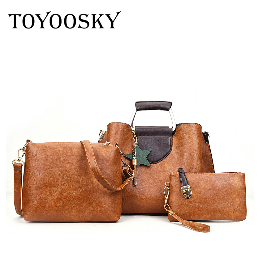 TOYOOSKY Women Bag Top-Handle Bags Female Famous Brand 2018 Women Messenger Bags Handbag 3 Set PU Leather Composite Bag qimanshi two pieces shoulder tote bag female famous brand 2017 women messenger bags handbag pu leather composite bag bolsas