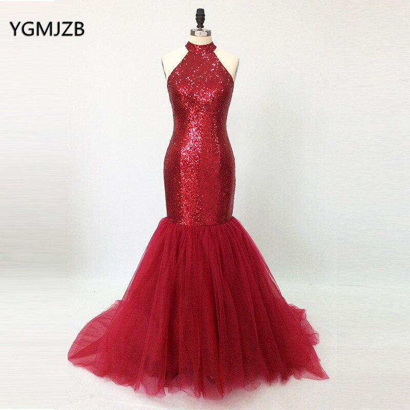 Elegant Evening Dress Long 2018 Mermaid Sequin High Neck Backless Burgundy Women Formal Evening Party Gowns