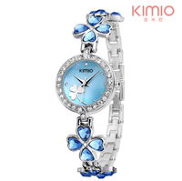 KIMIO Ladies Lucky Clover Love Crystal Strap Austrian Drilling Women Watches 2018 Luxury Brand Quartz Watches