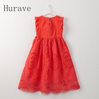 Hurave Summer Style Fashion 2017 Kids Red White Clothes Girls Dress Children Princess Dress For Kids