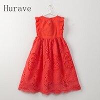 Hurave אופנה בסגנון קיץ 2017 ילדים בגדי בנות להתלבש שמלת נסיכת ילדים עבור ילדי אדום לבן Vestidos