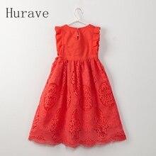 Hurave Летний Стиль Мода 2018 красная детская белая одежда для девочек детское платье принцессы для Детские платья