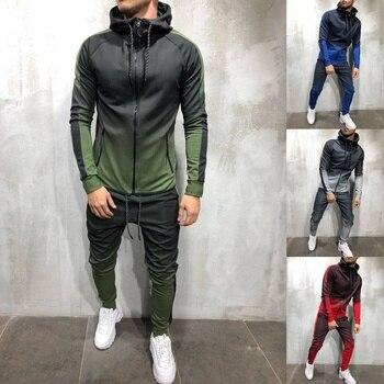 ZOGAA 2019 neuf hommes survêtement 2 pièce ensemble 3D dégradé décontracté casual Hoodies sweat et pantalon Sportswear Joggers hommes ensembles