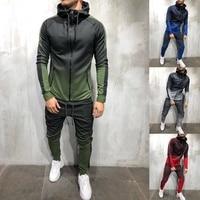 ZOGAA 2019 Brand New Men Tracksuit 2 Piece Set 3D Gradient Color Casual Hoodies Sweatshirt and Pants Sportswear Joggers Men Sets