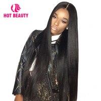 Горячие Красота волос Реми шелковистые прямо 4*4 дюйма Синтетические волосы на кружеве натуральные волосы парики с волосами младенца 180% Пло
