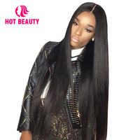 Hot Beauty Hair Brazilian Remy Silky Straight 4*4 Inch Lace Front Human Hair Wigs With Baby Hair 180%Density Pre Pluked Hair Wig