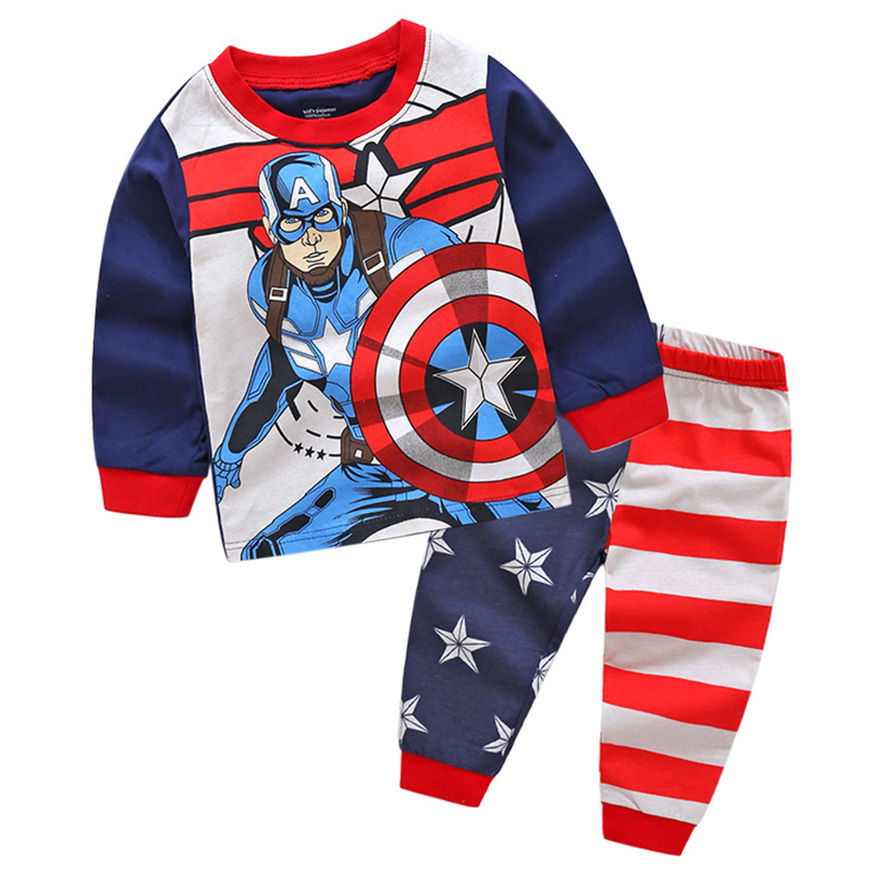 Avengers Captain America Halloween Cosplay Costume Newborn Pajamas Baby Boy Sleepers Toddler Tops Baby Set Infant Pants 2Pcs 2Y