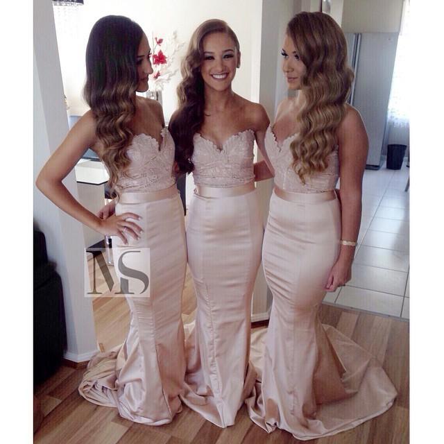 2016 Vintage Sheer Lace Long Mermaid font b Bridesmaid b font font b Dresses b font