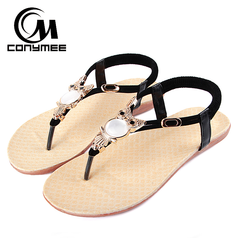 96ab6bc228747 CONYMEE Summer 2018 Woman Shoes Sexy Ladies Flat Heels Footwear Flip Flops  Animal Cute Beach Sandals Zapatos Mujer Sneakers-in Low Heels from Shoes on  ...