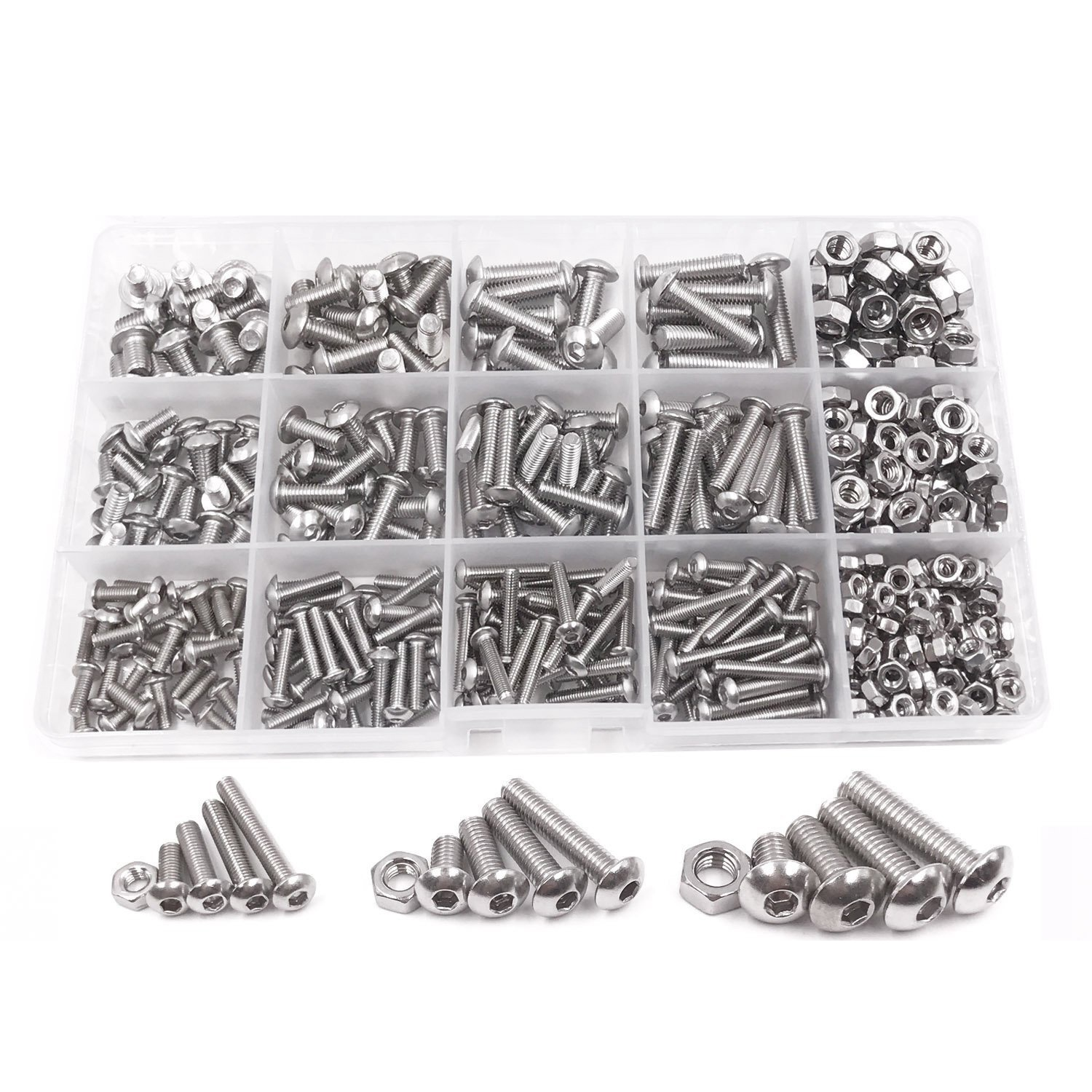 500pcs M3 M4 M5 A2 Stainless Steel ISO7380 Button Head Hex Bolts Hexagon Socket Screws With Nuts Assortment Kit m3 m4 m5 steel head screws bolts nuts hex socket head cap and nuts assortment button head allen bolts hexagon socket screws kit