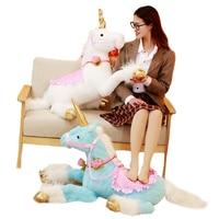 1 قطعة 100 سنتيمتر ضخمة لطيف يونيكورن الحصان القطيفة الملونة محشوة الحيوان دمية للأطفال الأطفال الإبداعية هدية عيد للفتيات