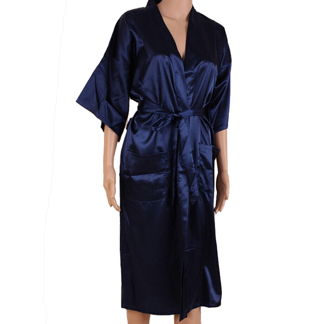 81a7883cf1 Navy Blue Men Sexy Silk Rayon Kimono Bathrobe Gown Chinese Style Male Robe  Nightgown Sleepwear Plus Size S M L XL XXL XXXL MR006
