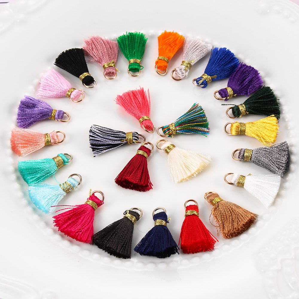 10 Stks/partij Kleurrijke 2 Cm Mini Zijdeachtige Kwasten Kleine Kwasten Voor Sieraden Diy Boho Armband Ketting Maken Levert Woondecoratie