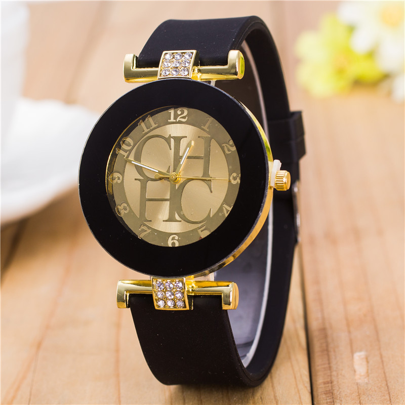 2016 New Fashion Brand Black Geneva Casual H Quartz Watch Women Crystal Silicone Watches Relogio Feminino Dress Wrist Watch Hot