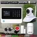 2.4G WiFi GSM Sistema de Alarme, compatível com GPRS Controle IOS Android APP, Teclado de toque, apoio 5 línguas Switch, câmera de Alarme