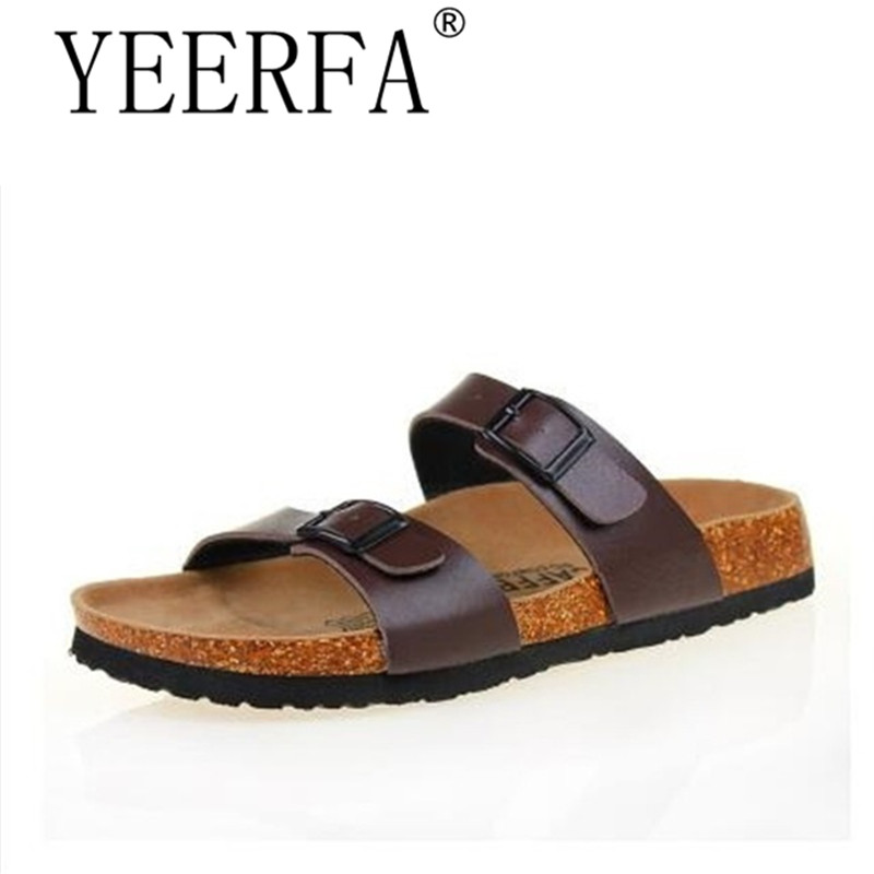 c904a090c03d YEERFA 2017 Men Cork Shoes Slippers Sandals Beach Shoes 2 Kinds Wear Summer  Sandals Zapatos Sandalias Mix Color Plus Size 35 43-in Men s Sandals from  Shoes ...