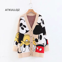ATKULLQZ Hot Women's knitted jacket wholesale 2019 autumn and winter new ins hot lazy wind V neck Mickey Sweater Cardigan female