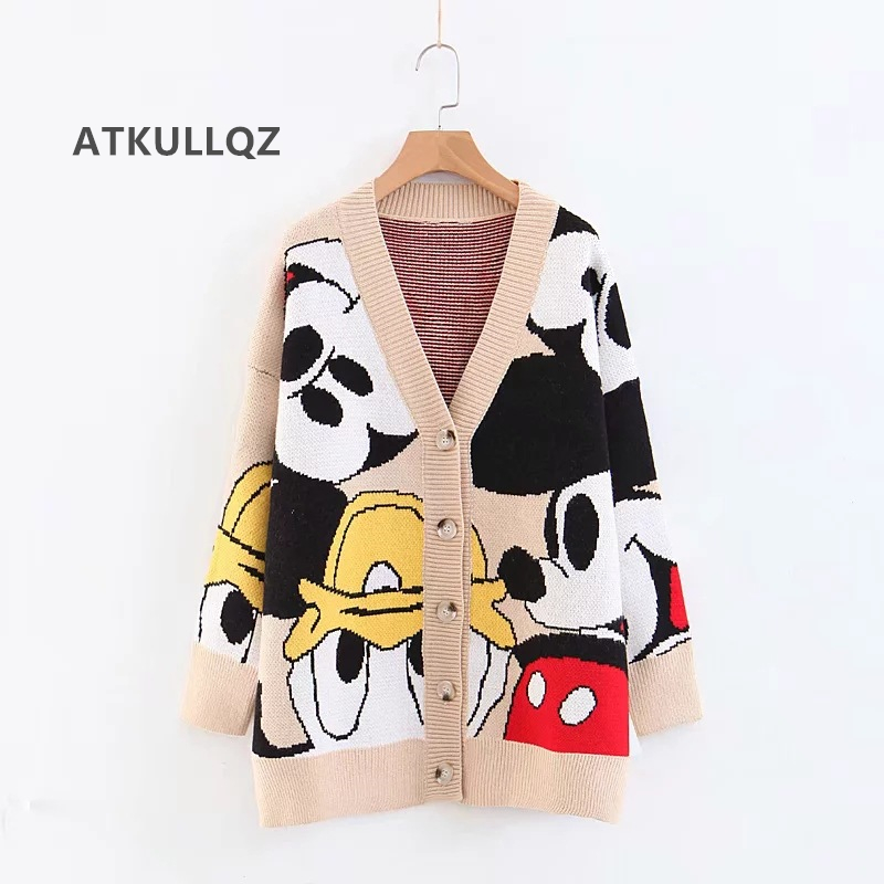 ATKULLQZ Hot Women's Knitted Coat  2019 Autumn And Winter New Ins Hot Lazy Wind V-neck Cartoon Pattern Sweater Cardigan Women