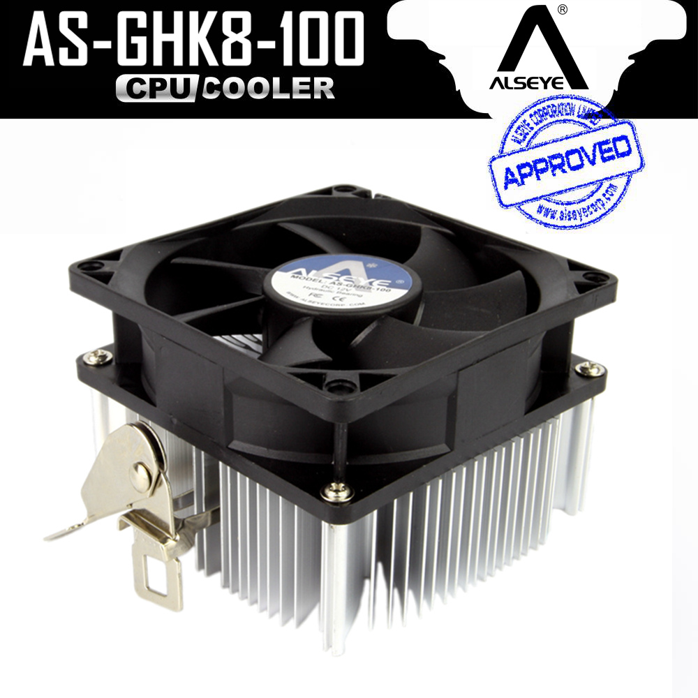ALSEYE CPU Cooler 80mm Fan with Aluminum Heatsink Radiator TDP 95W CPU Fan 2200RPM for FM1/FM2/AM2/AM2+/AM3/AM3+ 12v 2 pin 55mm graphics cards cooler fan laptop cpu cooling fan cooler radiator for pc computer notebook aluminum gold heatsink