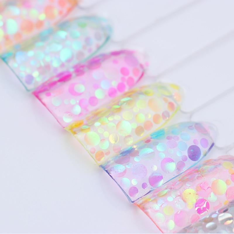 Colorful Round Nail Sequins Flakes Mermaid Fluorescent Paillette Flakies Manicure Nail Art Decorations