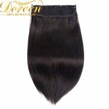 Дорин 22 дюймов 140 г Слитные купальники для будущих мам комплект клип в наращивание волос бразильского не-Реми 5 Зажимы естественная прямая Человеческие волосы 8 Цвета доступны