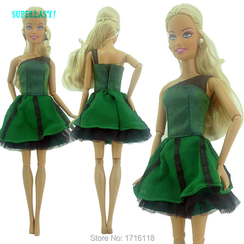 Style Handmade Summer time Mini Robe Dinner Get together Costume Mannequin Costume Every day Put on Garments For Barbie Doll 11 to 12 inch Toys Reward